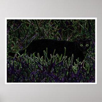 Neon Feline Poster