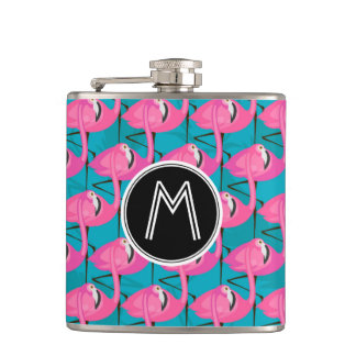 Neon Flamingos | Add Your Initial Hip Flask