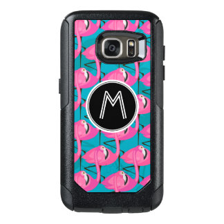 Neon Flamingos   Add Your Initial OtterBox Samsung Galaxy S7 Case