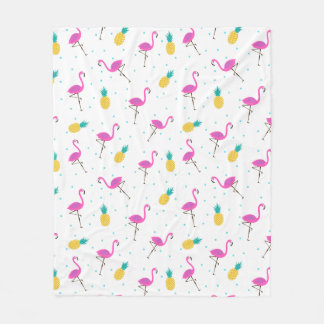 Neon Flamingos Fleece Blanket