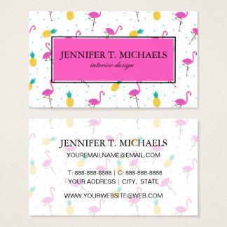 Neon Flamingos | Monogram 2 Business Card