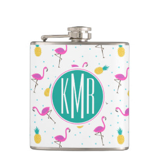 Neon Flamingos | Monogram Hip Flask