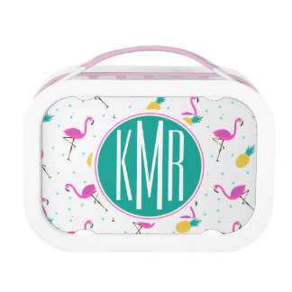 Neon Flamingos | Monogram Lunch Box