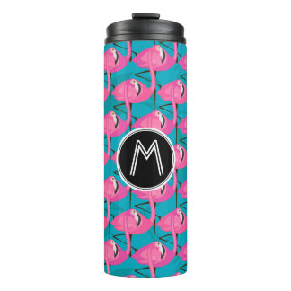 Neon Flamingos Two | Add Your Initial Thermal Tumbler