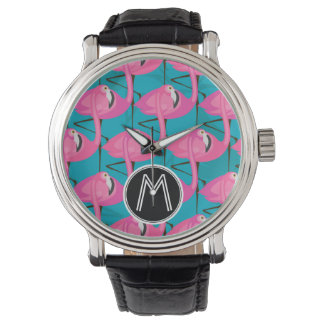 Neon Flamingos Two | Add Your Initial Watch