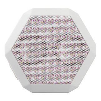 Neon Floral Love Hearts Pattern White Boombot Rex Bluetooth Speaker