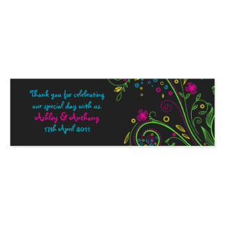 Neon Floral Wedding Favour Tags Double-Sided Mini Business Cards (Pack Of 20)