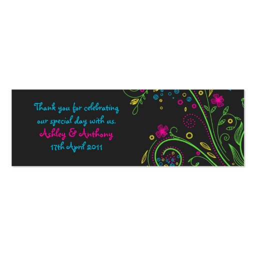 Neon Floral Wedding Favour Tags Business Card Template