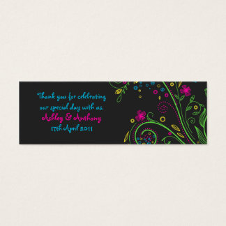 Neon Floral Wedding Favour Tags Mini Business Card