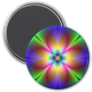 Neon Flower 7.5 Cm Round Magnet