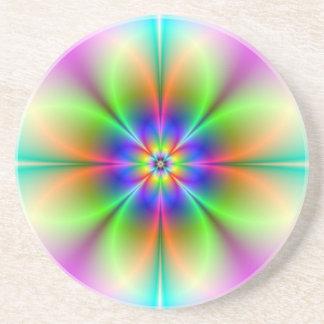 Neon Flower Fractal Coaster