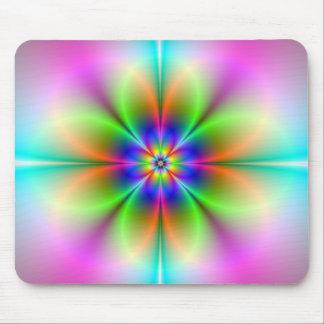 Neon Flower Fractal Mousepad