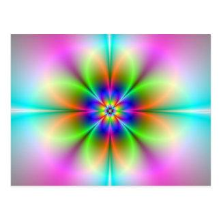 Neon Flower Fractal Postcard