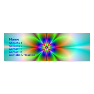 "Neon Flower Fractal Skinny, 3"" x 1"", 20 pack Business Cards"