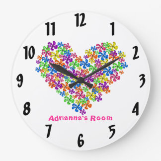 Neon Flower Heart Large Clock