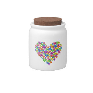 Neon Flower Hearts Candy Jars
