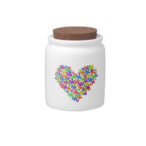 Neon Flower Hearts Candy Jars