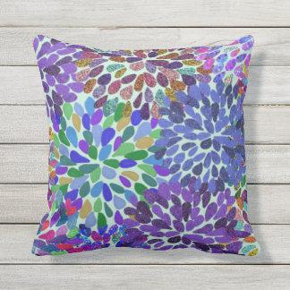 Neon Flower Petals Outdoor Cushion