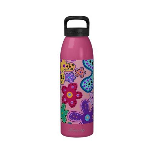 Neon Flower Power Water Bottles