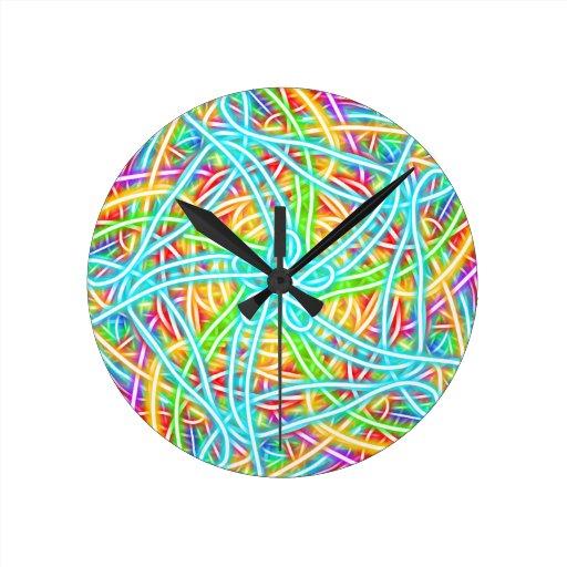 Neon Flower Swirl Clock