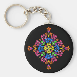 Neon Flowers Basic Round Button Key Ring