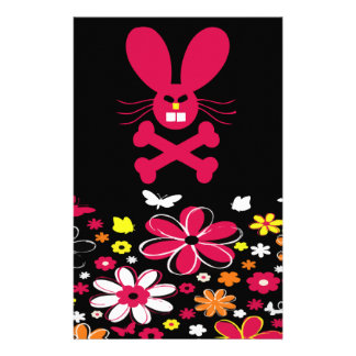 Neon Flowers Bunny Set Personalized Stationery
