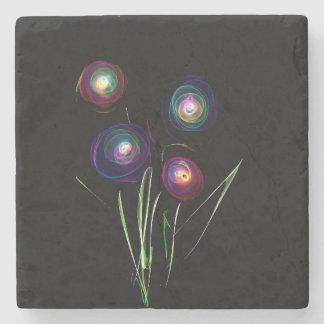 Neon Flowers Marble Stone Coaster