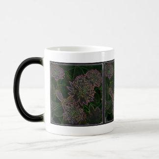 Neon flowers on black coffee mugs