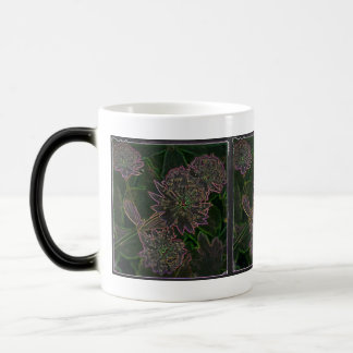 Neon flowers on black coffee mugs