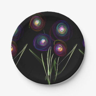 Neon Flowers Paper Plate