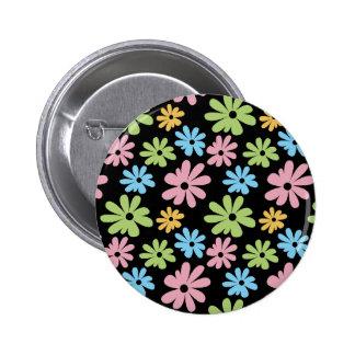 Neon Flowers Pinback Button