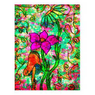 Neon Flowers Postcard