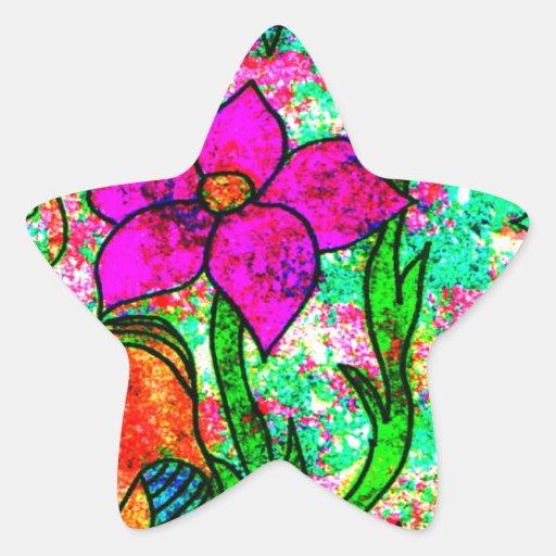 Neon Flowers Stickers