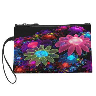 Neon Flowers Wristlet