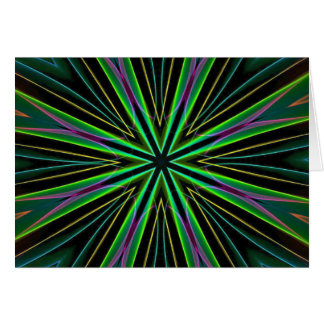Neon Fluorescent Green Lavender Star Burst Card