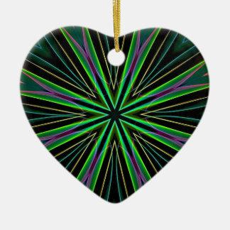 Neon Fluorescent Green Lavender Star Burst Ceramic Heart Decoration