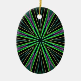 Neon Fluorescent Green Lavender Star Burst Ceramic Oval Decoration