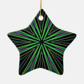 Neon Fluorescent Green Lavender Star Burst Ceramic Star Decoration