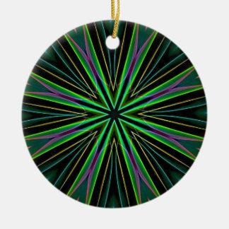 Neon Fluorescent Green Lavender Star Burst Round Ceramic Decoration