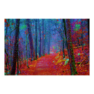 Neon Forest Oil Painting Print Poster