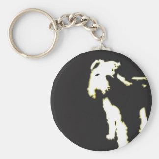 Neon fox terrier basic round button key ring