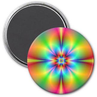 Neon Fractal Flower Magnet