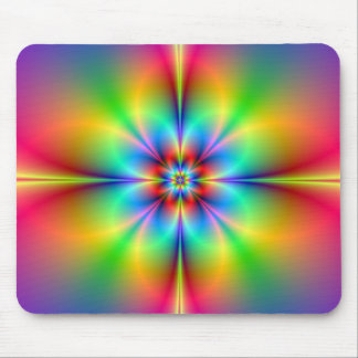 Neon Fractal Flower Mousepad