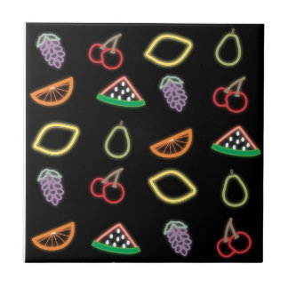 Neon Fruit Small Square Tile
