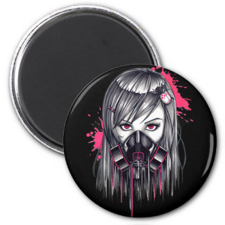 Neon Gas Mask Girl Magnet
