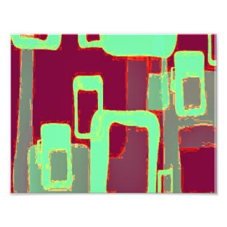 Neon Geometric Squares Art Photo