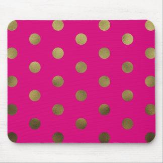 Neon Glam Faux Gold Polka Dots Modern Mousepad