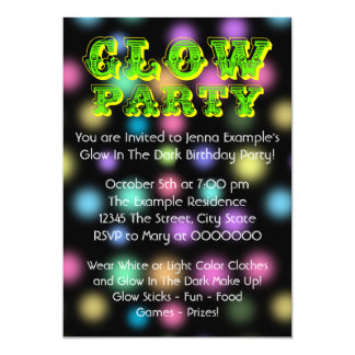 Neon Glow In The Dark Birthday Party 13 Cm X 18 Cm Invitation Card