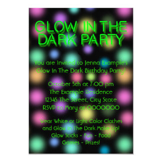 "Neon Glow In The Dark Birthday Party 5"" X 7"" Invitation Card"