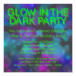 Neon Glow In The Dark Birthday Party Personalised Announcement